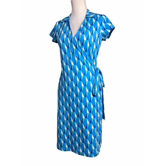 J McLaughlin Wrap Dress Lila Blue Geometric Print